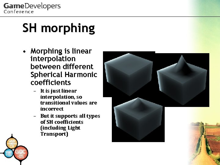 SH morphing • Morphing is linear interpolation between different Spherical Harmonic coefficients – It