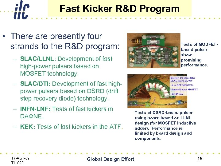Fast Kicker R&D Program • There are presently four strands to the R&D program: