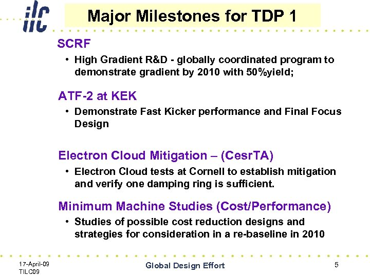 Major Milestones for TDP 1 SCRF • High Gradient R&D - globally coordinated program