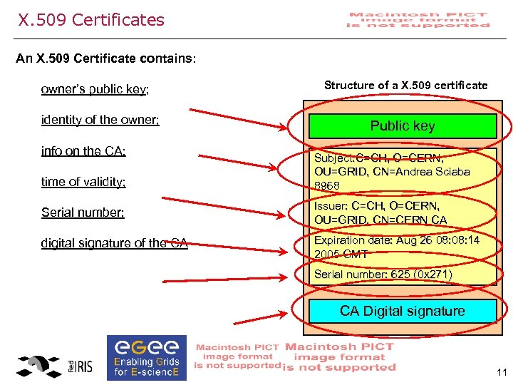 X. 509 Certificates An X. 509 Certificate contains: owner's public key; identity of the