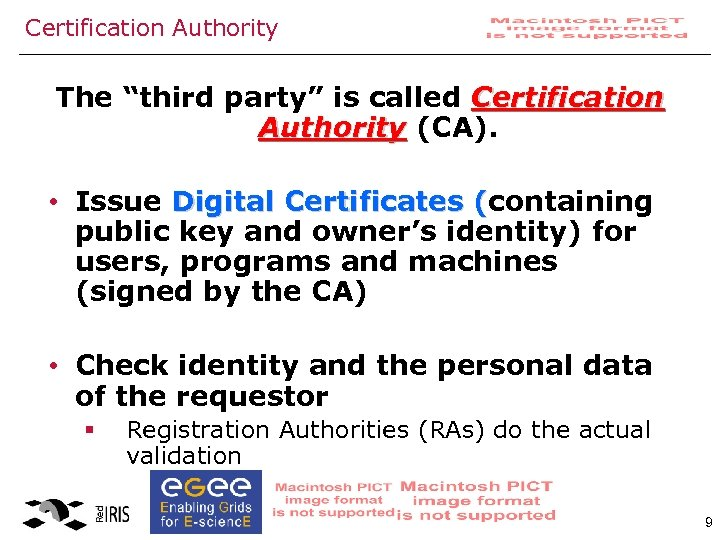 "Certification Authority The ""third party"" is called Certification Authority (CA). • Issue Digital Certificates"