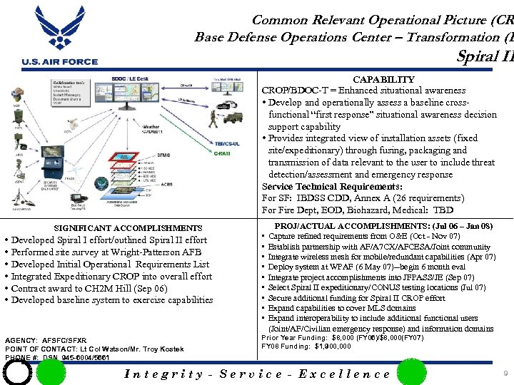 Common Relevant Operational Picture (CR Base Defense Operations Center – Transformation (B Spiral II