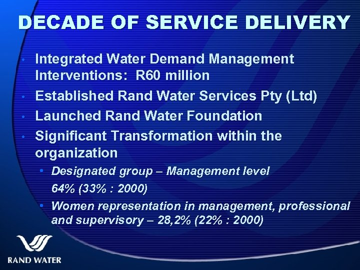 DECADE OF SERVICE DELIVERY • • Integrated Water Demand Management Interventions: R 60 million