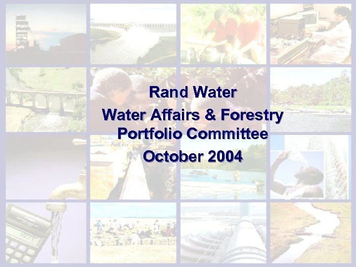 Tariff Setting & Accountability Rand Water Affairs & Forestry Portfolio Committee October 2004