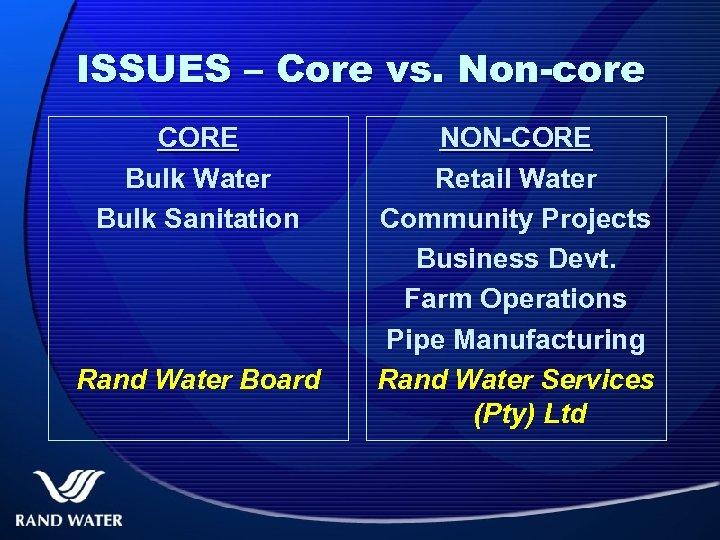 ISSUES – Core vs. Non-core CORE Bulk Water Bulk Sanitation Rand Water Board NON-CORE