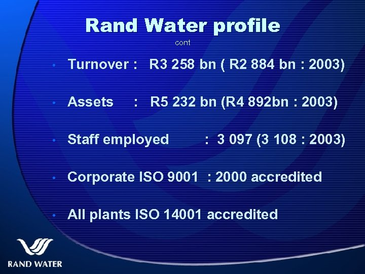 Rand Water profile cont • Turnover : R 3 258 bn ( R 2