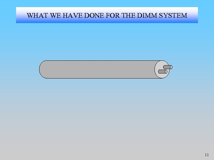 WHAT WE HAVE DONE FOR THE DIMM SYSTEM 11