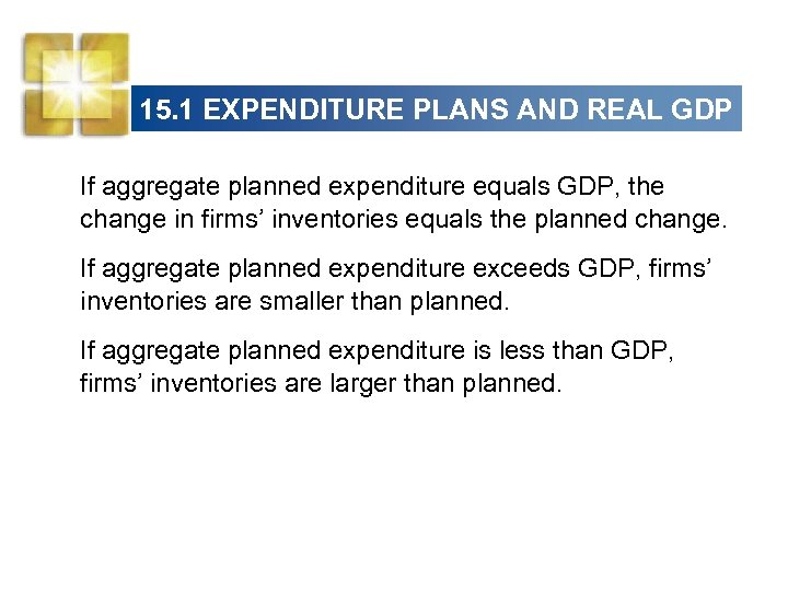 15. 1 EXPENDITURE PLANS AND REAL GDP If aggregate planned expenditure equals GDP, the