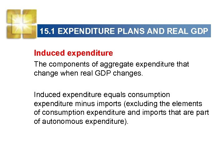 15. 1 EXPENDITURE PLANS AND REAL GDP Induced expenditure The components of aggregate expenditure
