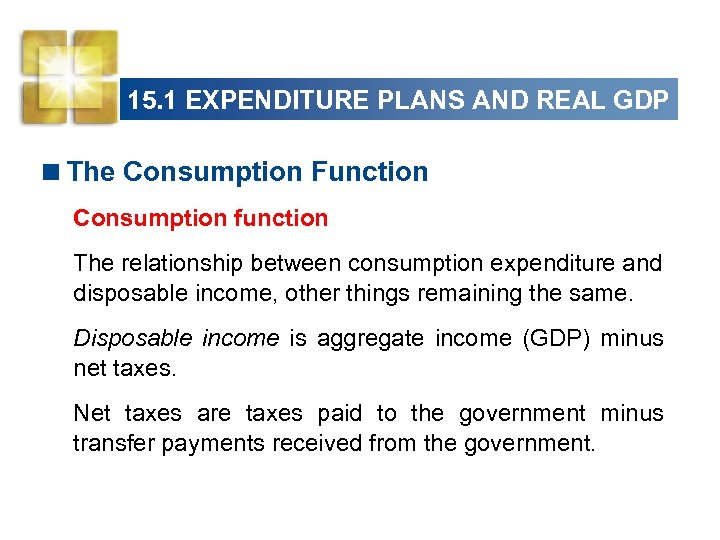 15. 1 EXPENDITURE PLANS AND REAL GDP <The Consumption Function Consumption function The relationship