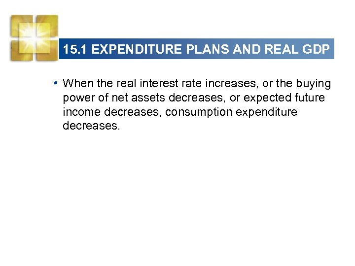 15. 1 EXPENDITURE PLANS AND REAL GDP • When the real interest rate increases,