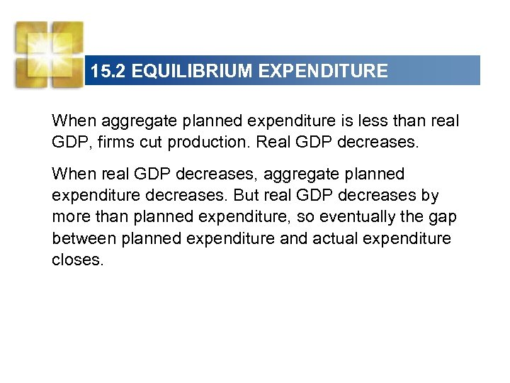 15. 2 EQUILIBRIUM EXPENDITURE When aggregate planned expenditure is less than real GDP, firms