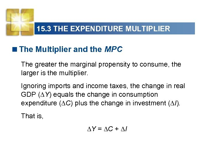 15. 3 THE EXPENDITURE MULTIPLIER <The Multiplier and the MPC The greater the marginal