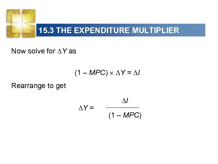 15. 3 THE EXPENDITURE MULTIPLIER Now solve for Y as (1 – MPC) Y