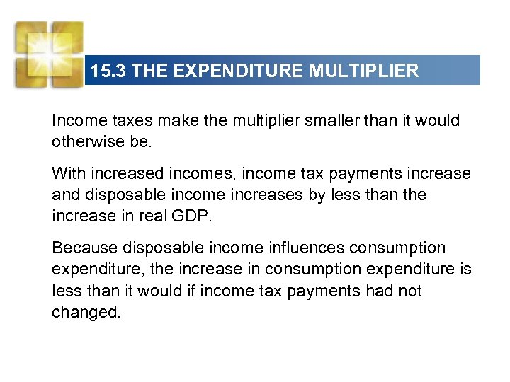 15. 3 THE EXPENDITURE MULTIPLIER Income taxes make the multiplier smaller than it would