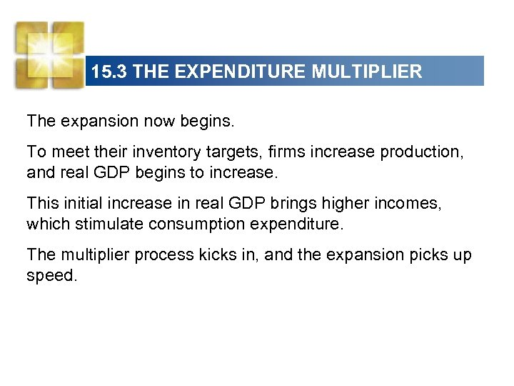 15. 3 THE EXPENDITURE MULTIPLIER The expansion now begins. To meet their inventory targets,