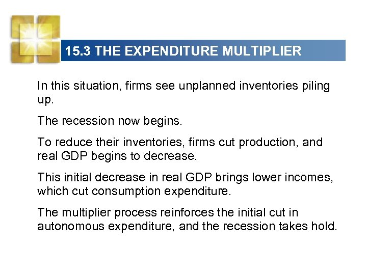 15. 3 THE EXPENDITURE MULTIPLIER In this situation, firms see unplanned inventories piling up.