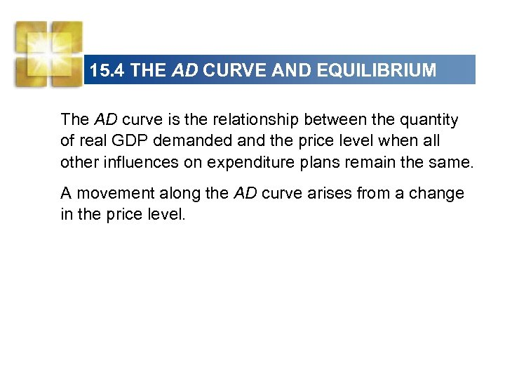 15. 4 THE AD CURVE AND EQUILIBRIUM The AD curve is the relationship between