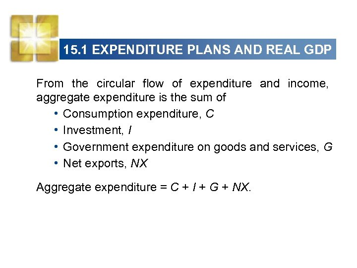 15. 1 EXPENDITURE PLANS AND REAL GDP From the circular flow of expenditure and