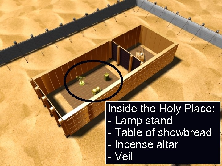 Inside the Holy Place: - Lamp stand - Table of showbread - Incense altar