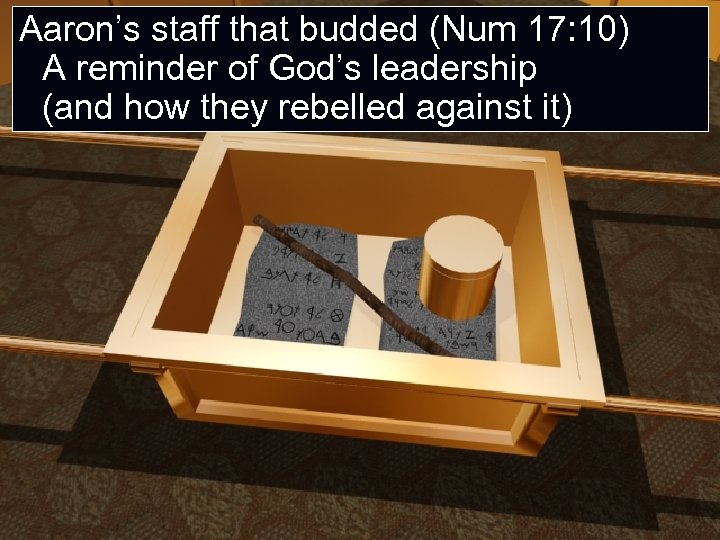 Aaron's staff that budded (Num 17: 10) A reminder of God's leadership (and how