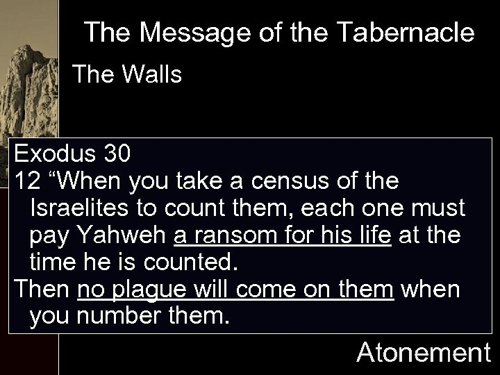 """The Message of the Tabernacle The Walls Exodus 30 12 """"When you take a"""