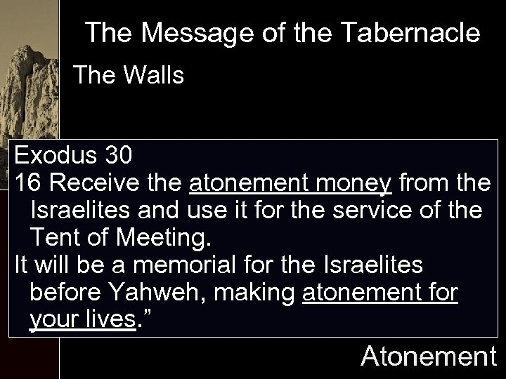 The Message of the Tabernacle The Walls Exodus 30 16 Receive the atonement money
