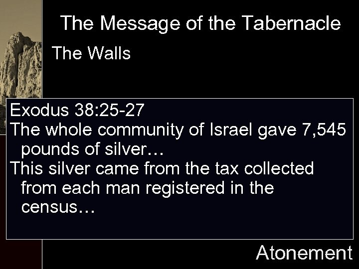 The Message of the Tabernacle The Walls Exodus 38: 25 -27 The whole community