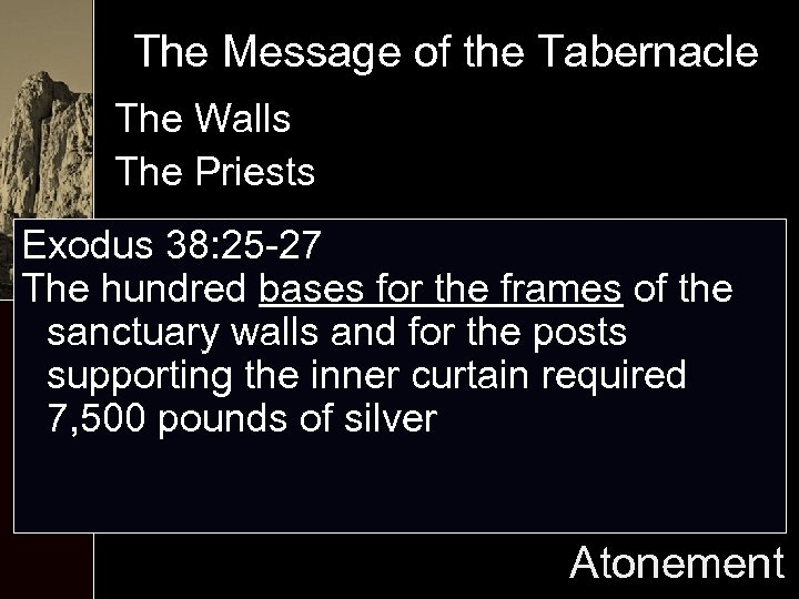 The Message of the Tabernacle The Walls The Priests Exodus 38: 25 -27 The