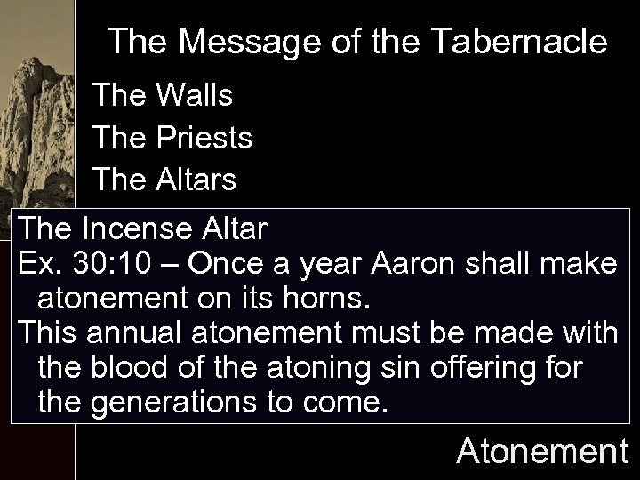The Message of the Tabernacle The Walls The Priests The Altars The Incense Altar