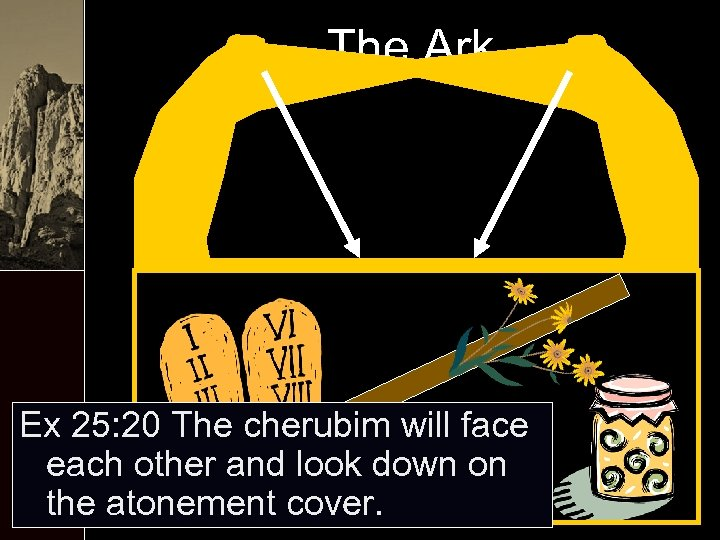 The Ark Ex 25: 20 The cherubim will face each other and look down