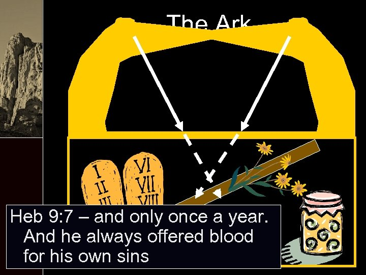 The Ark Heb 9: 7 – and only once a year. And he always