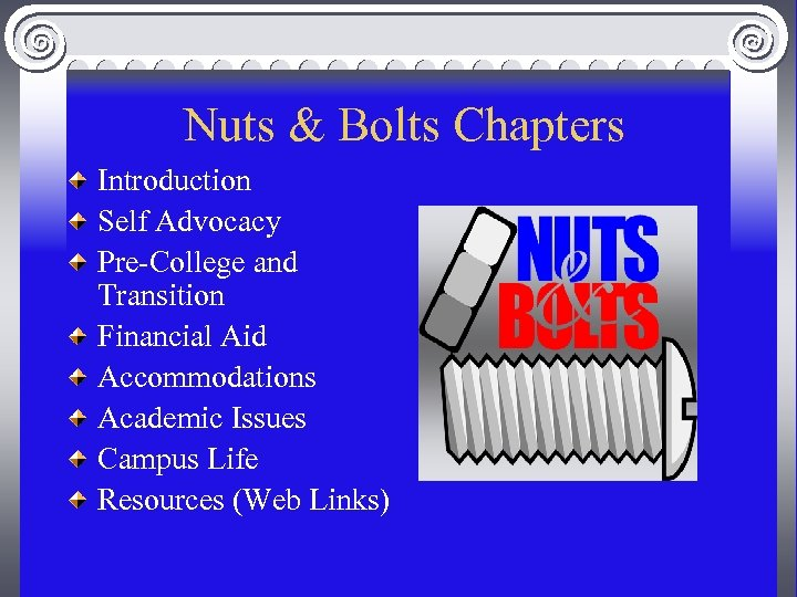 Nuts & Bolts Chapters Introduction Self Advocacy Pre-College and Transition Financial Aid Accommodations Academic