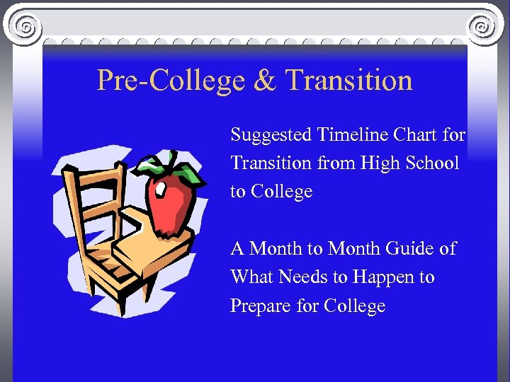Pre-College & Transition Suggested Timeline Chart for Transition from High School to College A