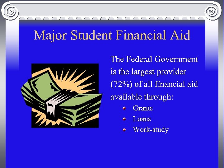 Major Student Financial Aid The Federal Government is the largest provider (72%) of all