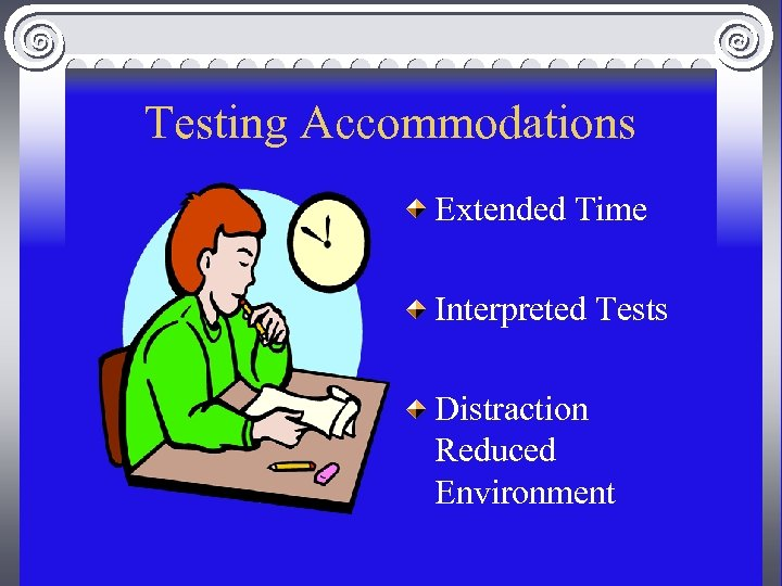Testing Accommodations Extended Time Interpreted Tests Distraction Reduced Environment