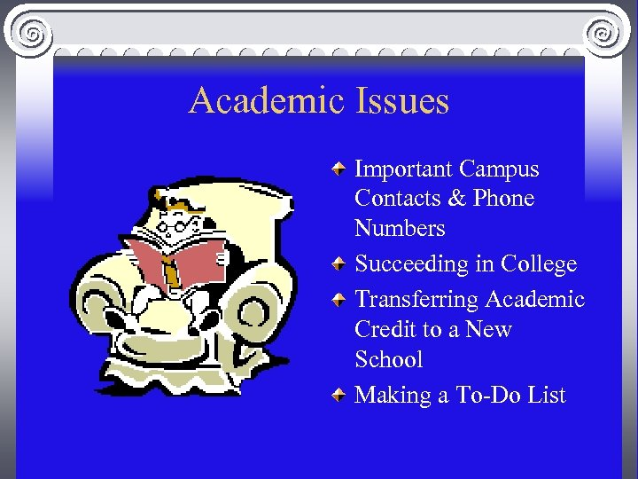 Academic Issues Important Campus Contacts & Phone Numbers Succeeding in College Transferring Academic Credit