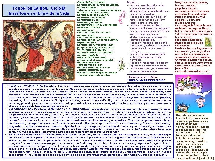 Todos los Santos. Ciclo B Inscritos en el Libro de la Vida § §
