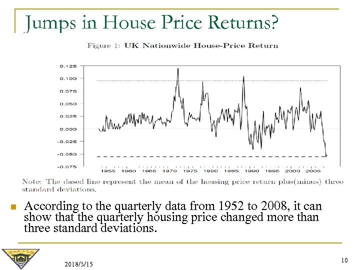Jumps in House Price Returns? n According to the quarterly data from 1952 to