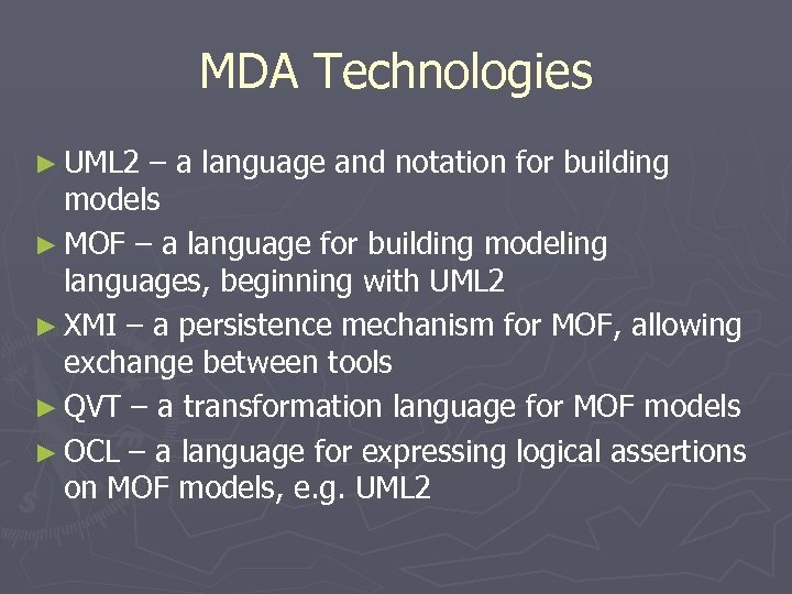 MDA Technologies ► UML 2 – a language and notation for building models ►