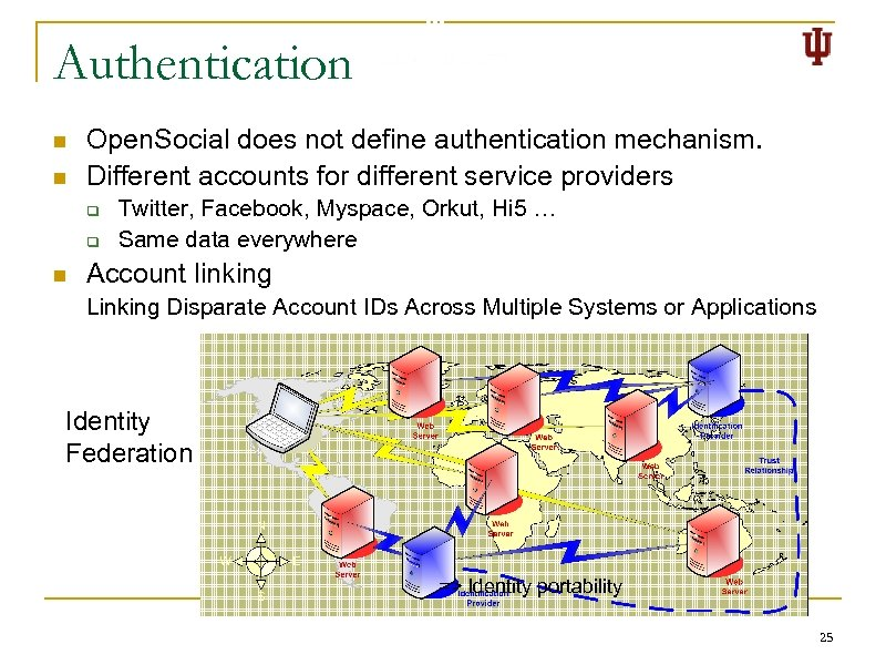 Authentication n n Open. Social does not define authentication mechanism. Different accounts for different