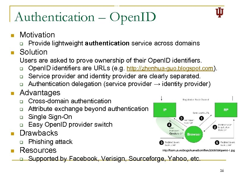 Authentication – Open. ID n Motivation q n Provide lightweight authentication service across domains