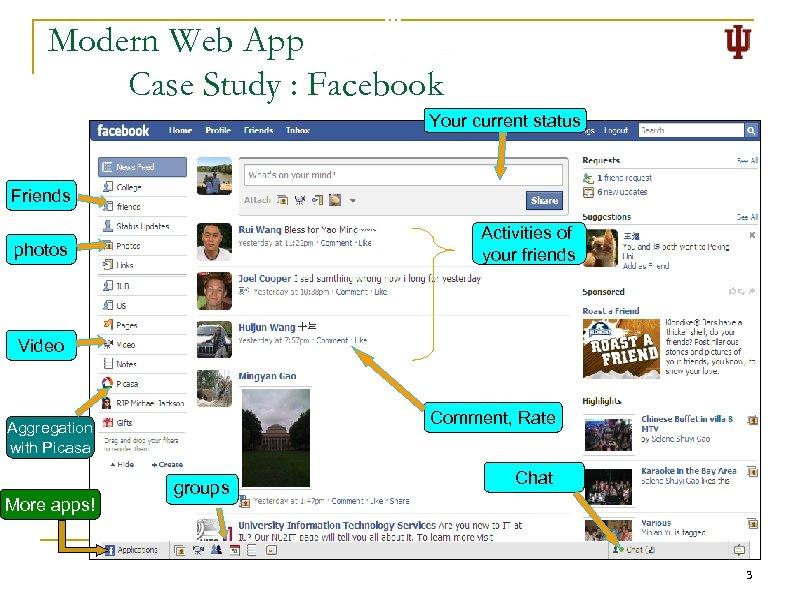 Modern Web App Case Study : Facebook Your current status n Friends photos Facebook