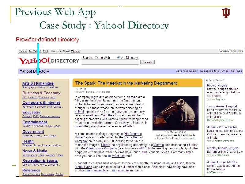 Previous Web App Case Study : Yahoo! Directory Provider-defined directory 4