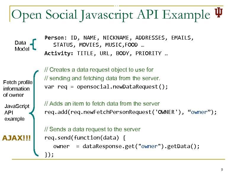Open Social Javascript API Example Data Model Fetch profile information of owner Java. Script