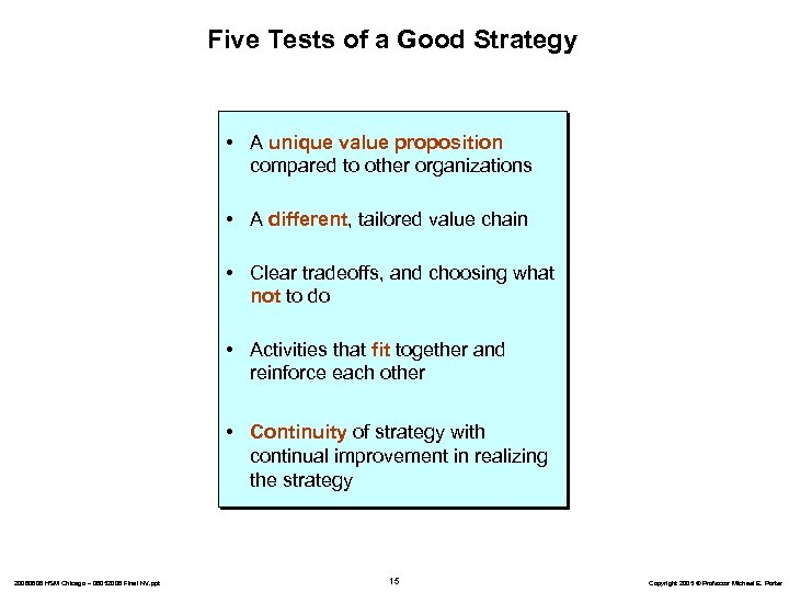 Five Tests of a Good Strategy • A unique value proposition compared to other