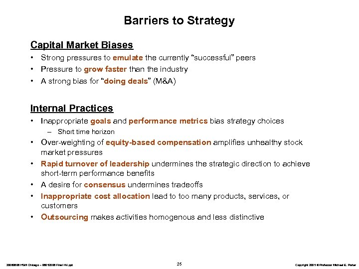 "Barriers to Strategy Capital Market Biases • Strong pressures to emulate the currently ""successful"""