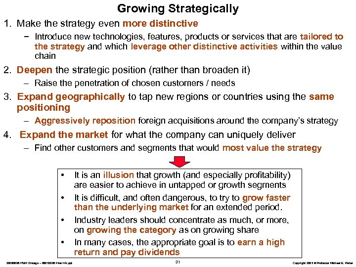 Growing Strategically 1. Make the strategy even more distinctive − Introduce new technologies, features,