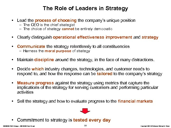 The Role of Leaders in Strategy • Lead the process of choosing the company's