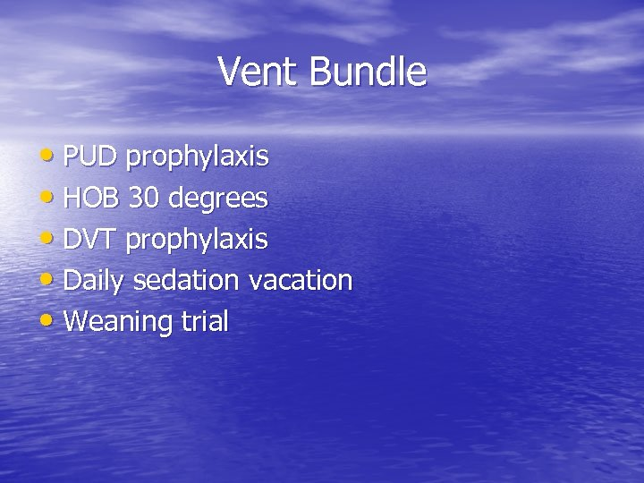 Vent Bundle • PUD prophylaxis • HOB 30 degrees • DVT prophylaxis • Daily